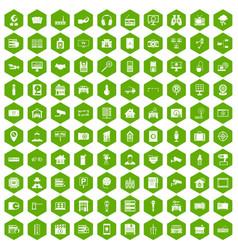 100 camera icons hexagon green vector
