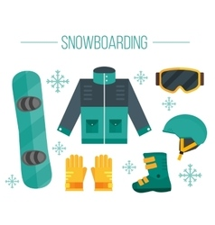 Snowboard equipment- jacket boots helmet vector