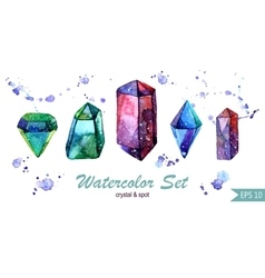 Watercolor set of crystals and spots isoleted vector