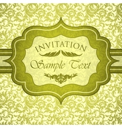 Green vintage invitation with antique floral vector