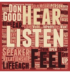 Listen and hear text background wordcloud concept vector