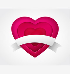 Pink paper heart with ribbon vector