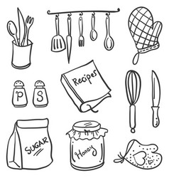 Kitchen set element of doodle style vector