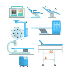 Modern medical and examination equipment set of vector