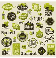 Natural organic product labels and emblems vector image