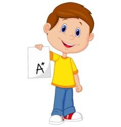 Boy cartoon showing a plus grade vector