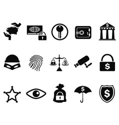 bank security icons set vector image