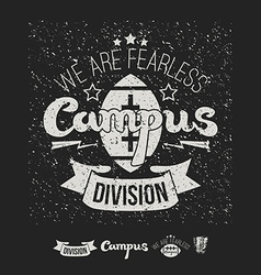 Campus rugby team emblem and icons vector