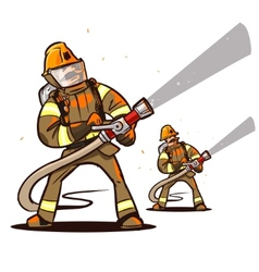 Firefighter with the hose vector