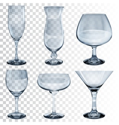 Set of empty transparent glass goblets vector image