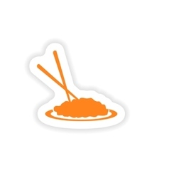 Icon sticker realistic design on paper noodles vector