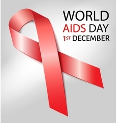 World aids day background with red ribbon of aids vector