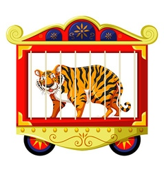 Wild tiger in the circus cage vector