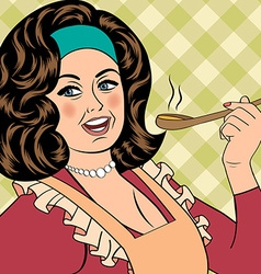 Pop art retro woman with apron tasting her food vector