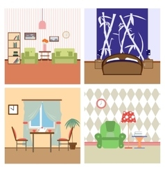 Flat house interiors colorfull lineart vector