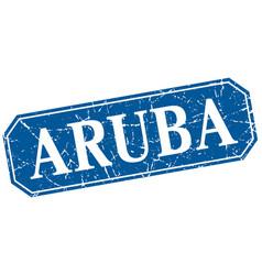 Aruba blue square grunge retro style sign vector