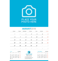 August 2018 wall monthly calendar for 2018 year vector