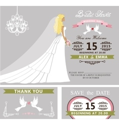 Bridal shower template setbridedressveil vector