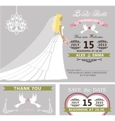 Bridal shower template setBridedressveil vector image