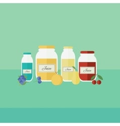 Card with jars of juice in flat style vector image