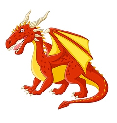 Cartoon red dragon posing vector