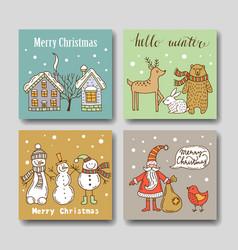 Christmas greeting card set vector