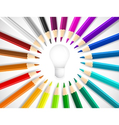 Concept idea with colorful pencils as beams around vector image vector image