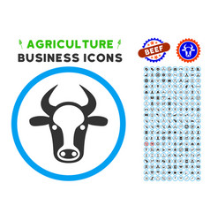 Cow head rounded icon with set vector