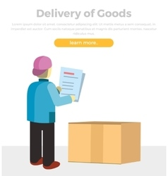 Delivery of goods web banner in flat style design vector
