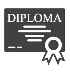 diploma solid icon education and certificate vector image vector image