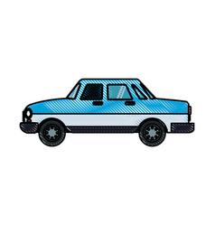 Drawing blue car sedan transport design vector