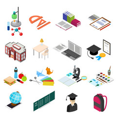 Education school color icons set isometric view vector