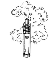 Electronic cigarette engraving style vector