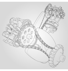 Engine components in disassembled state vector