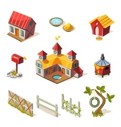 Farm Elements Collection vector image vector image