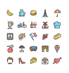 france travel signs color thin line icon set vector image vector image