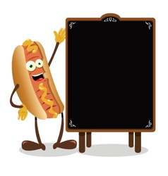 Funny hot dog and a blackboard vector