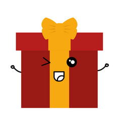 Giftbox present kawaii character vector