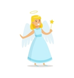 Girl in angel outfit dressed as winter holidays vector