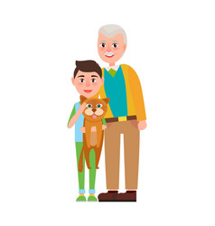 grandpa with grandson holding fluffy cat in hands vector image