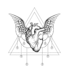 Hand drawn boho tattoo blackwork heart with wings vector