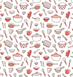 Kitchenware and cooking utensils doodle red vector