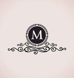 Luxury logo calligraphic pattern elegant decor vector