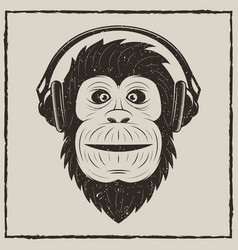 Music monkey vintage grunge design vector