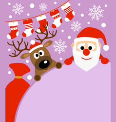 new year background card with deer and santa cla vector image vector image