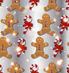 New year pattern with the gingerbread man and vector image