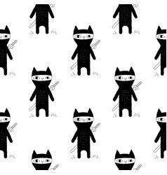 Ninja cat seamless patern vector