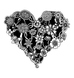 Ornate floral heart vector image vector image