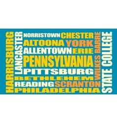 Pennsylvania state cities list vector image