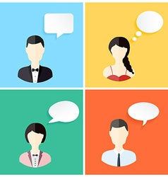 People icons with dialog speech bubbles vector image vector image